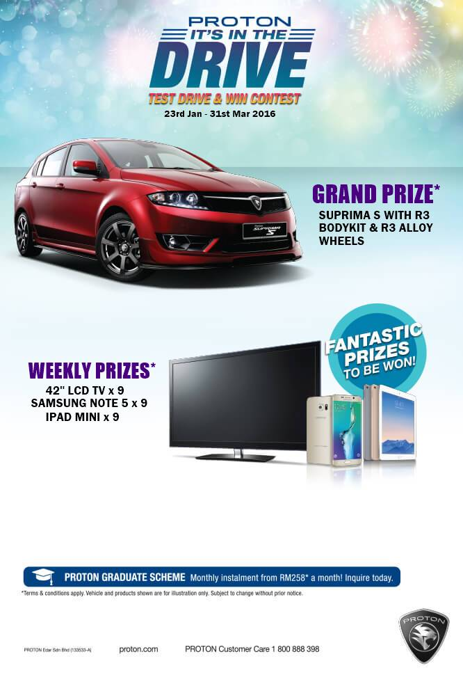 Proton test drive and win contest lee motors for Drive away motors inventory